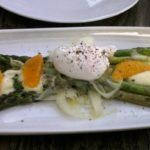 Asparagus, grilled asparagus, soft poached egg, manchego, citrus, truffle