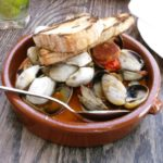 Clams, crispy chorizo, tomato, white wine, smoked paprika, served with grilled sourdough
