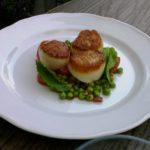 Scallops, seared west coast scallops, fresh peas, mint, cherry tomatoes, crispy serrano ham