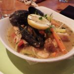 Seafood Pot au Feu with saffron broth and grilled sourdough bread