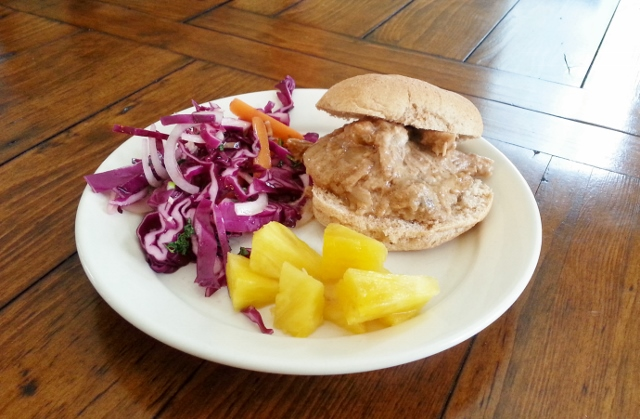 Pulled pork slider with cabbage slaw and pineapple