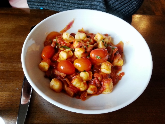 GNOCCHI house made ricotta and potato gnocchi, double smoked bacon, red onion, tomato, basil, red chili, tomato sauce