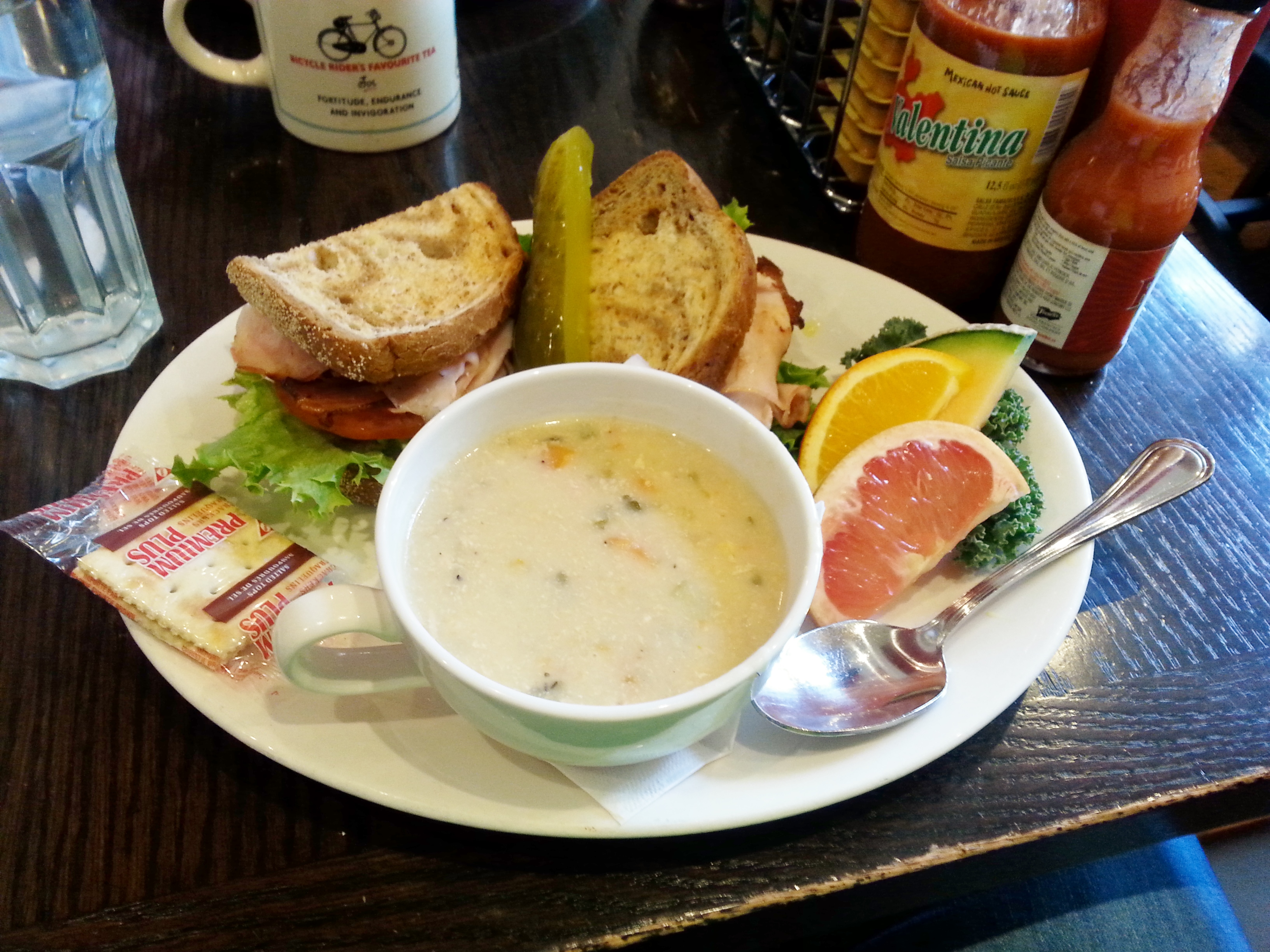 Turkey and bacon sandwich with creamy chicken and vegetable soup