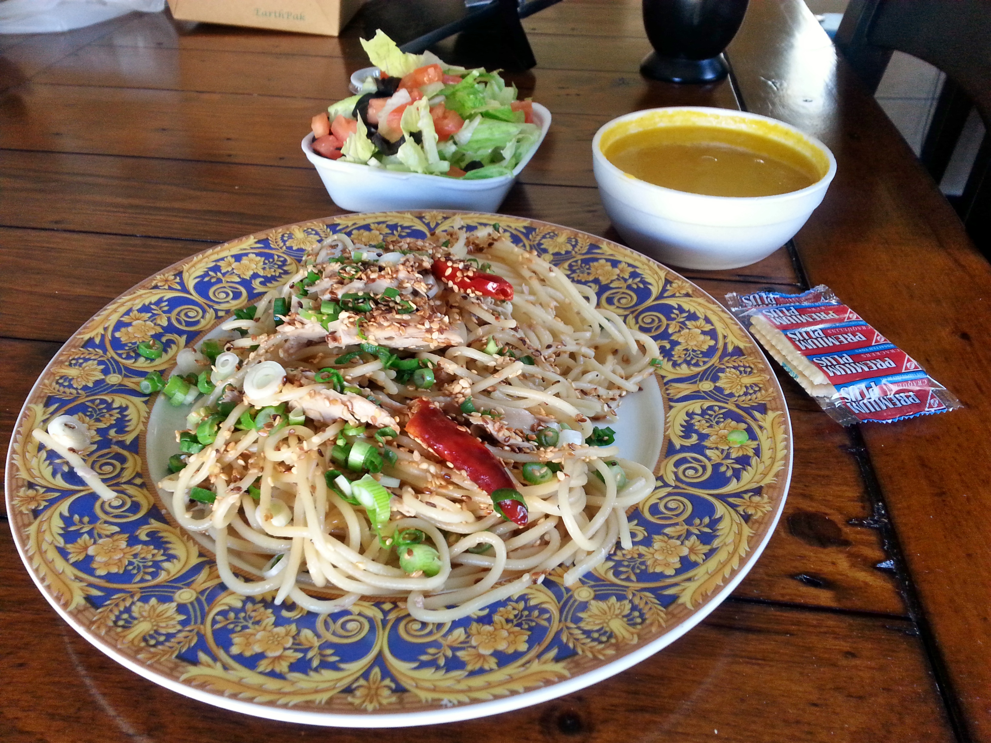 Japanese Chicken Spaghetti, Carrot and Orange Zest Soup, Salad