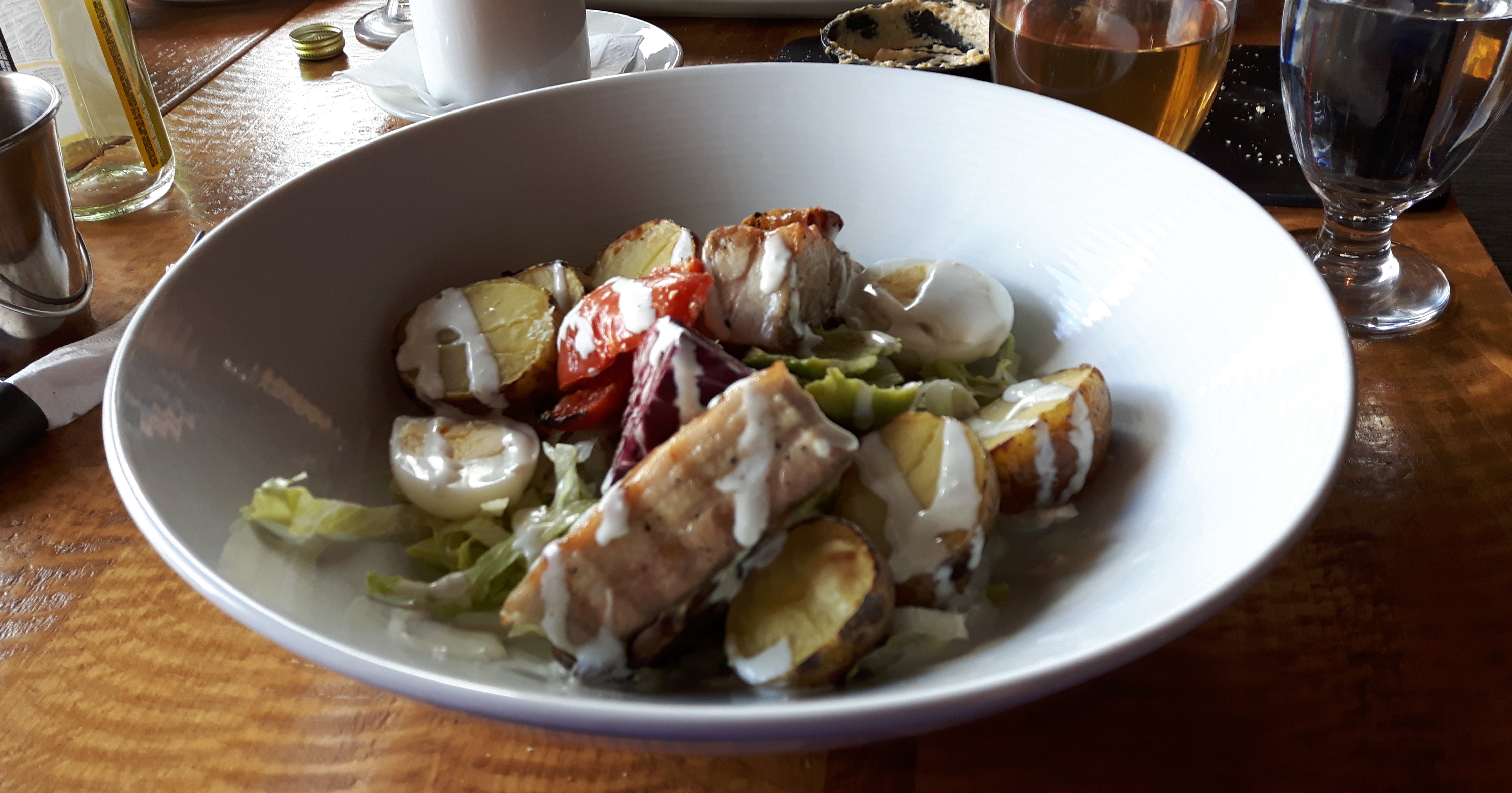 Cobb Salad Baby Iceberg Lettuce - Duck Egg Avocado - Pork Belly Beefsteak Tomato Blue Cheese Dressing - Herb & GarlicToast